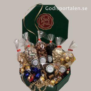 Jullåda lyx åttakantig med inslaget godis