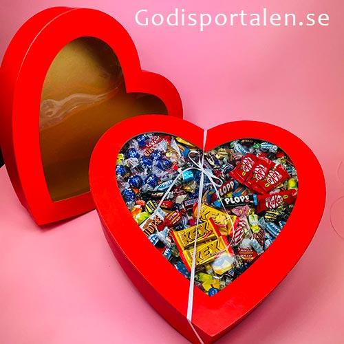 Rött hjärta med godis för Alla Hjärtans Dag - godisportalen.se