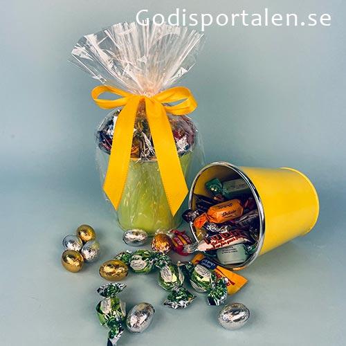 Påskägg - Påskhink silver kant med godis | godisportalen.se